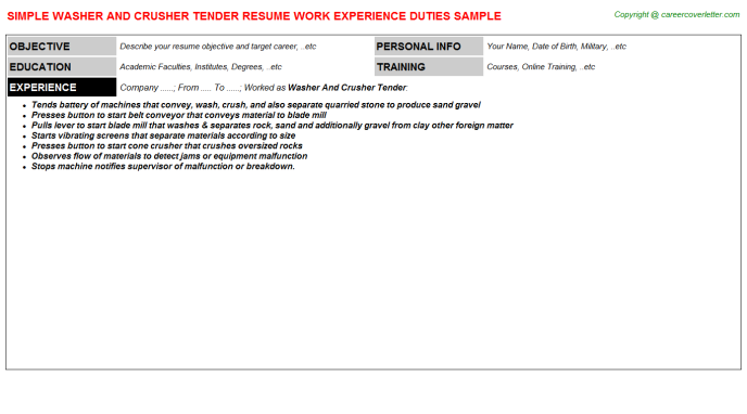 Washer and crusher Tender Resume Template