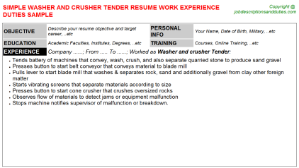 Washer and crusher Tender Job Resume Template