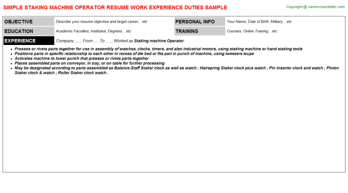 staking machine operator resume template