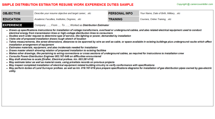 construction estimator job resumes