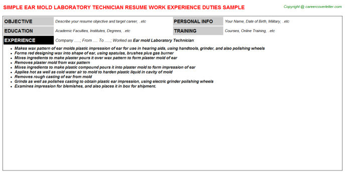 ear mold laboratory technician resume sample
