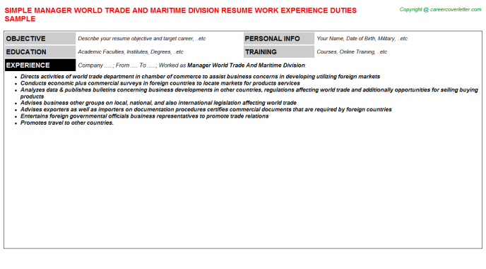 Manager World Trade And Maritime Division Job Resume Template