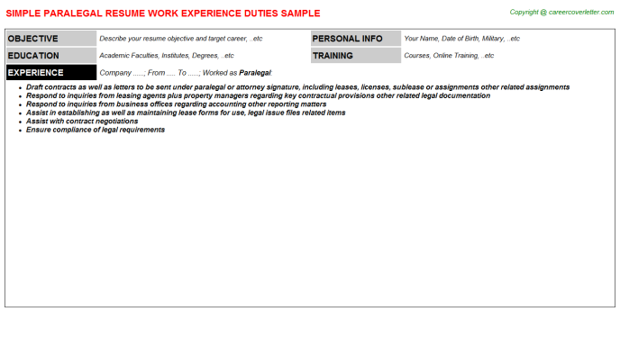 Paralegal Resume Template