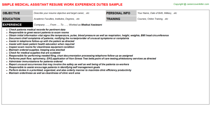 Medical Assistant Resume Sample Template