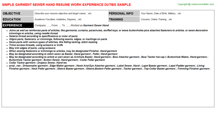 Garment Sewer Hand Resume Template