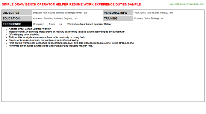 Draw Bench Operator Helper Resume Template