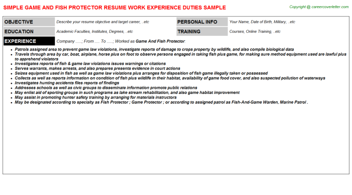 game and fish protector resume