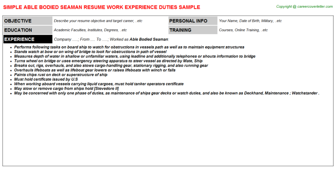 able bodied seaman resume template