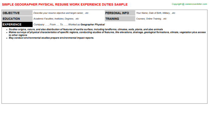 Geographer Physical Resume Template