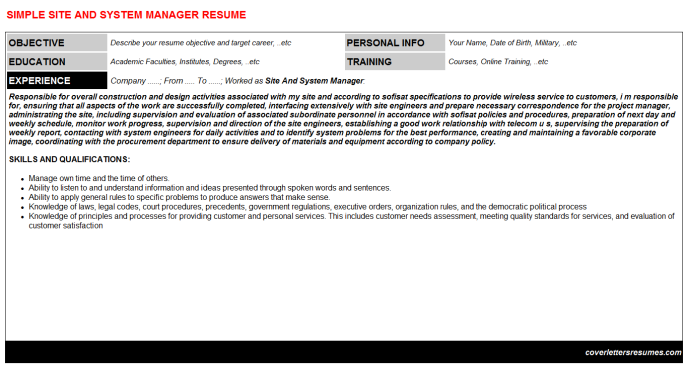 Site And System Manager Resume Template