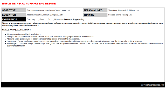 Tecnecal Support Eng Resume Template