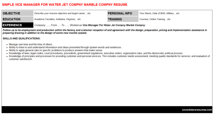 Vice Manager For Water Jet Compny Marble Compny Resume Template
