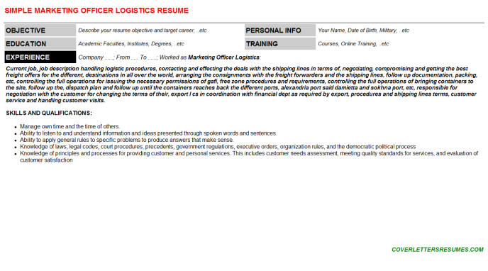 Marketing Officer Logistics Resume Template (#603)