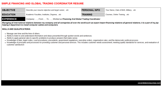 Financing And Global Trading Coordinator Resume Template