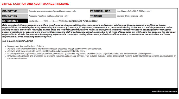 Taxation And Audit Manager Resume Template (#31104)
