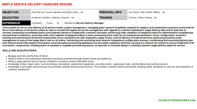 Service Delivery Manager CV Cover Letter & Resume Template