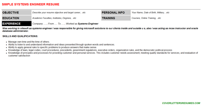Systems Engineer Resume Template (#66605)