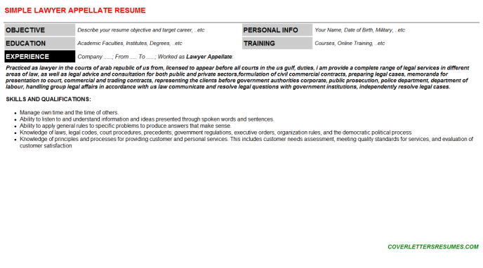 Lawyer Appellate Resume