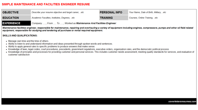 Maintenance And Facilities Engineer CV Cover Letter & Resume