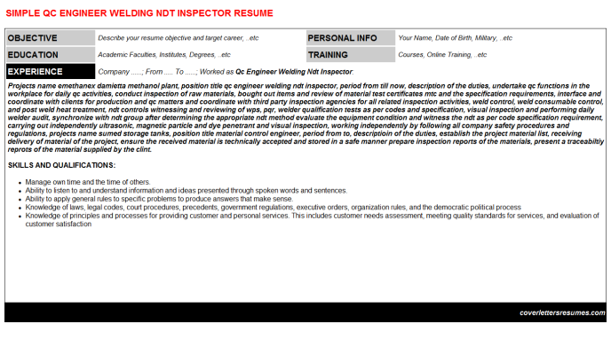 Qc Engineer Welding Ndt Inspector Resume Template 39510