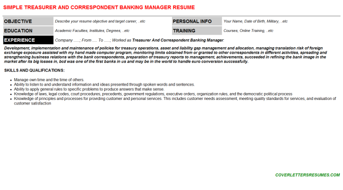 Treasurer And Correspondent Banking Manager Resume Template (#56609)