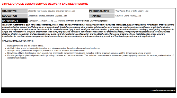 Oracle Senior Service Delivery Engineer Resume