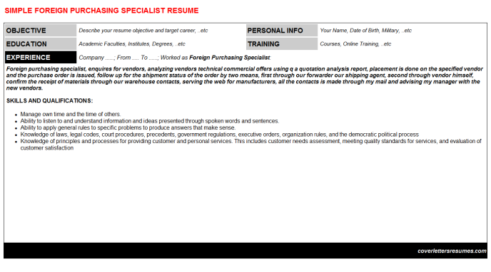 Foreign purchasing specialist cv cover letter & resume