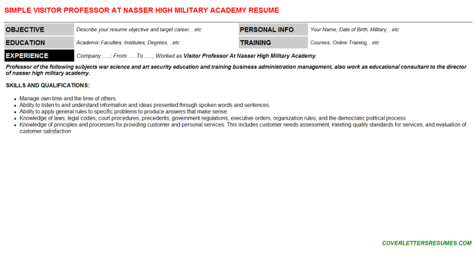 Visitor Professor At Nasser High Military Academy Resume Template