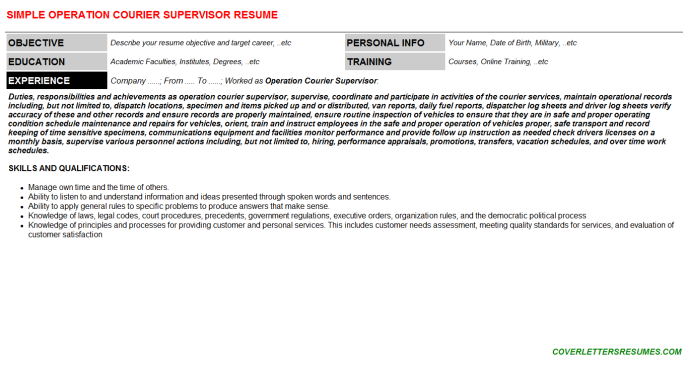 Operation Courier Supervisor Resume Template 93112