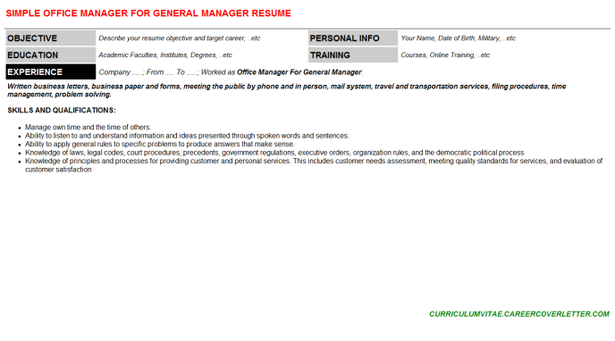 Office Manager For General Manager Resume Template