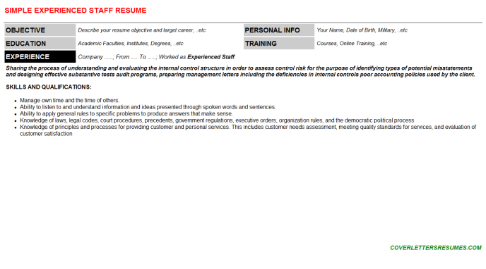 Experienced Staff Resume Template (#73614)