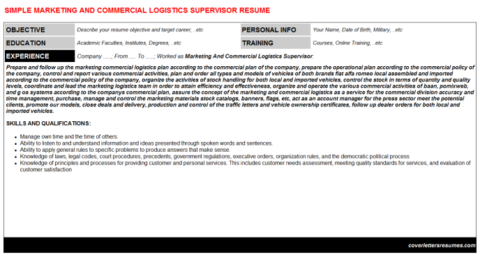 Marketing And Commercial Logistics Supervisor Resume Template (#115)