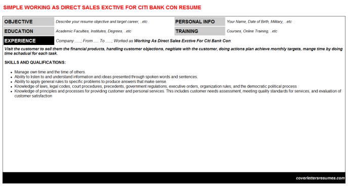 Working As Direct Sales Exctive For Citi Bank Con CV Resume