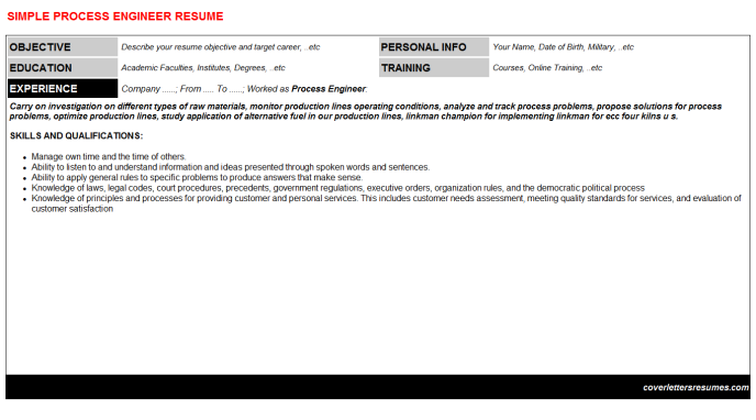 Process engineer cv cover letter & resume