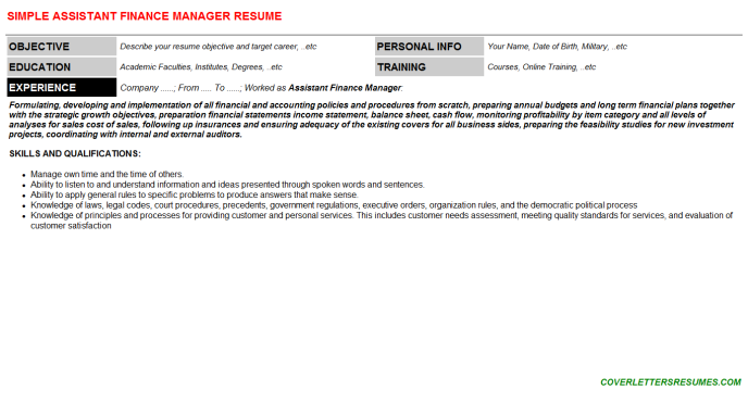 Assistant Finance Manager CV Cover Letter & Resume Template ...