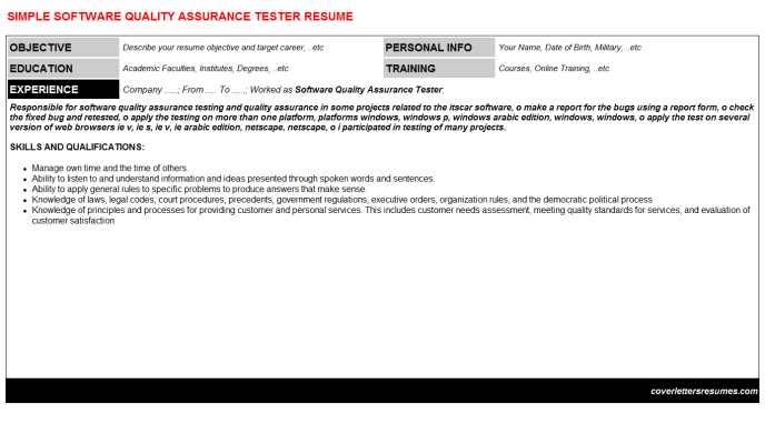Software Quality Assurance Tester Resume Template