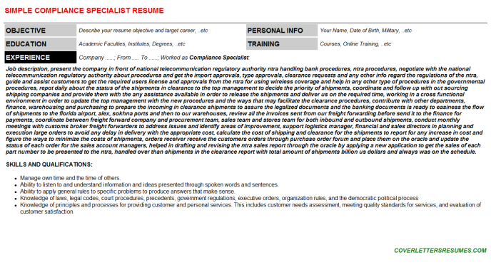 Compliance Specialist CV Cover Letter & Resume Template | CV Letters