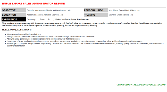 Export Sales Administrator CV Cover Letter & Resume Template ...