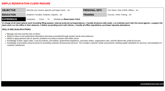 Reservation Clerk Resume Template