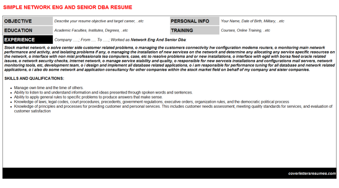 Network Eng And Senior Dba Resume Template (#121)