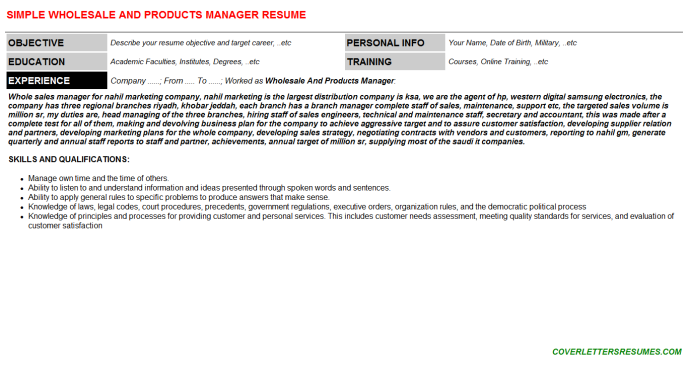 Wholesale And Products Manager Resume Template (#10121)