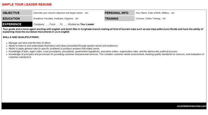 Tour Leader Resume Template