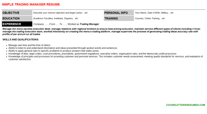 Trading Manager Resume Template
