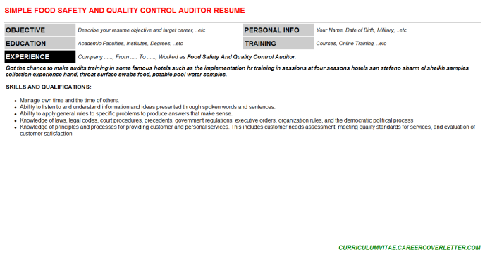 Food Safety And Quality Control Auditor CV Cover Letter & Resume ...