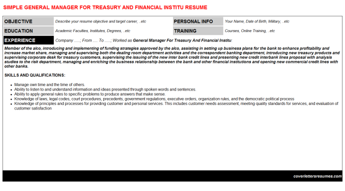 General Manager For Treasury And Financial Institu Resume Template