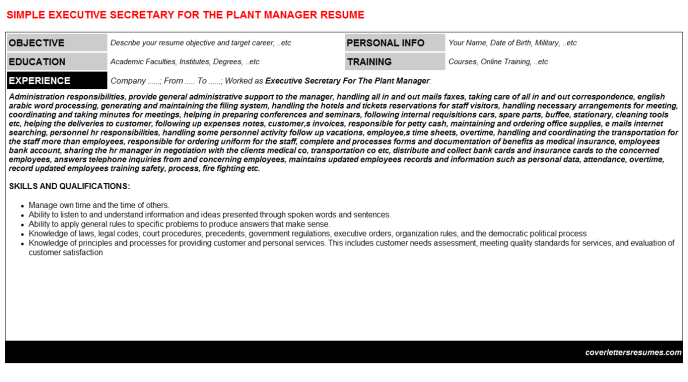 Executive Secretary For The Plant Manager Resume Template