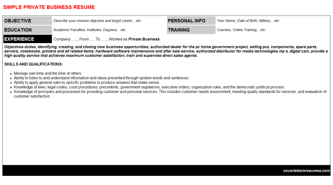 Private Business Resume Template (#10625)