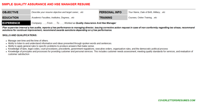 Quality Assurance And Hse Manager CV Resume