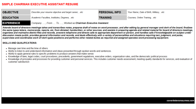 Chairman executive assistant cv cover letter & resume