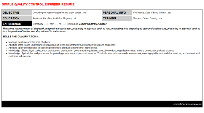 Quality Control Engineer CV Cover Letter & Resume Template ...